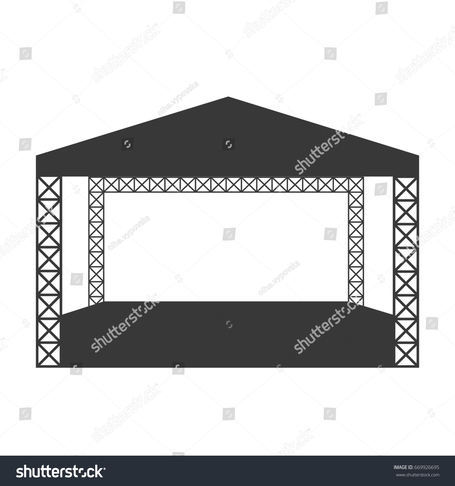 Empty outdoor rock stage - Outdoor Rock Concert Or Open Air Festival Stage Vector Flat Icon Or Logo Template Isolated