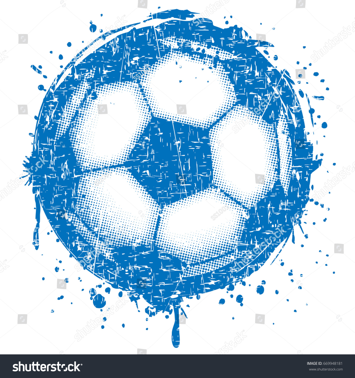 abstract vector illustration scratched blue football stock vector