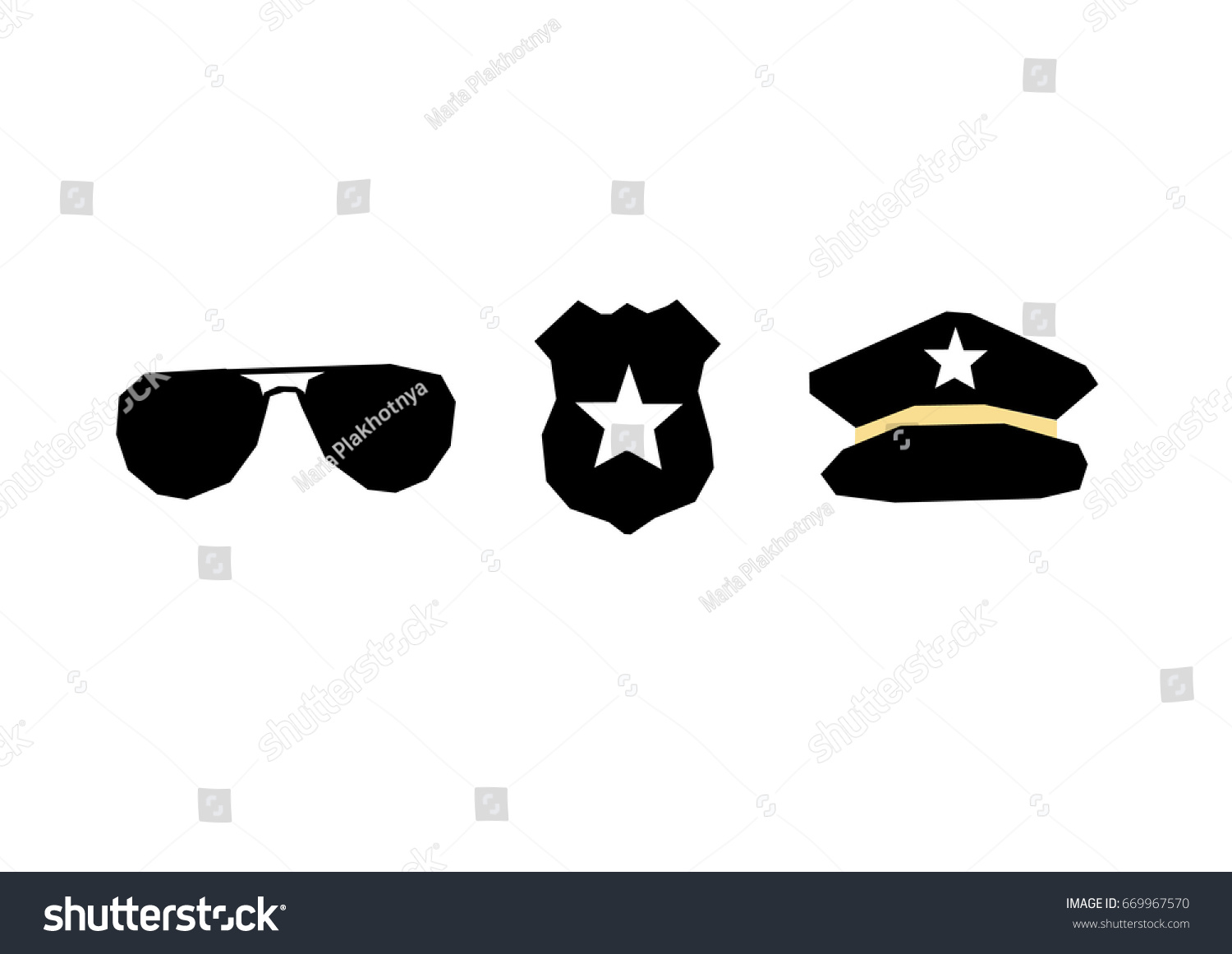 6433eb96 Set of security/police symbols: Police glasses, badge with sheriff star, police  cap. Vector illustration. Flat style - Vector