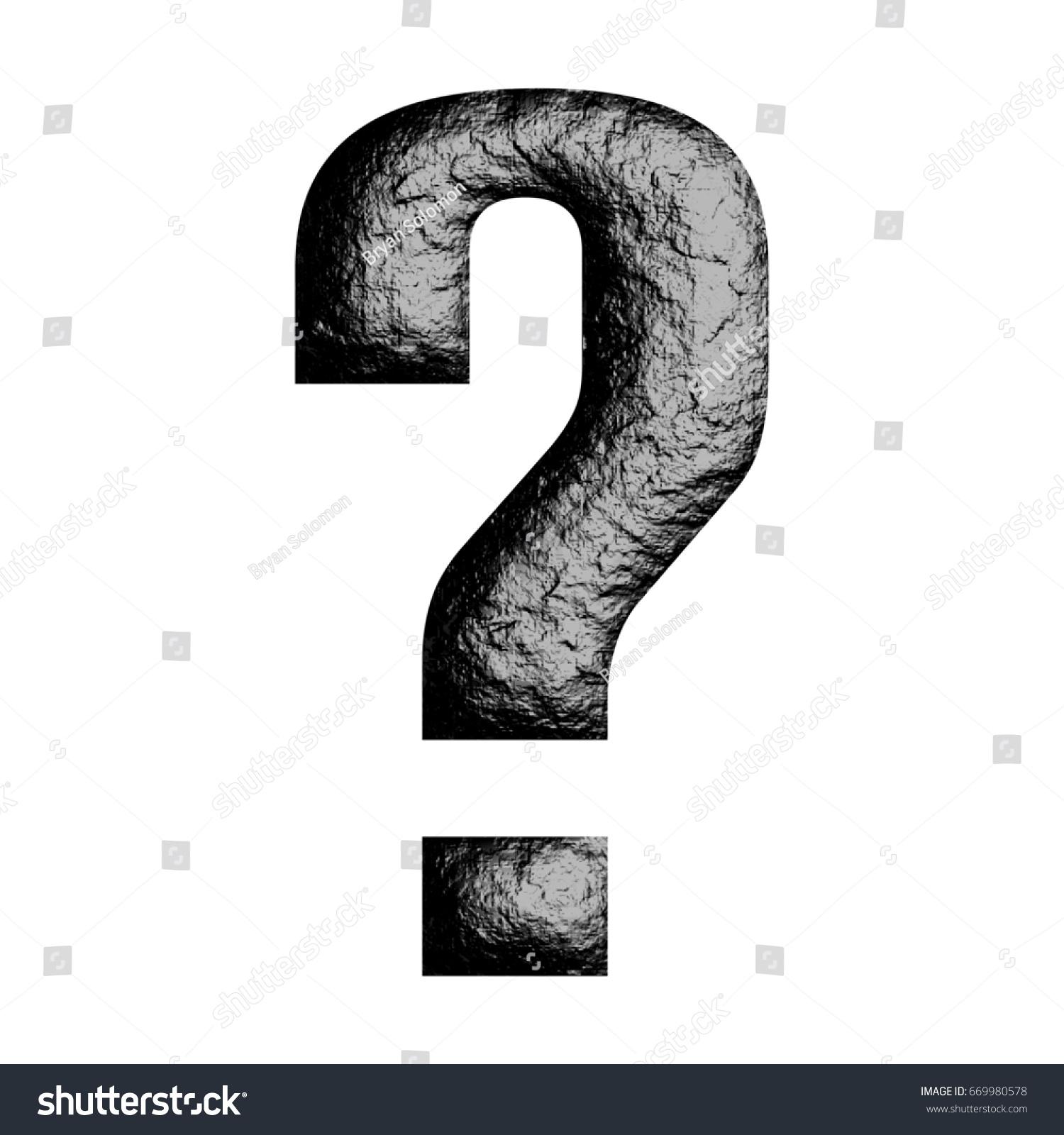 Rough Black Rock Textured Question Mark Stock Illustration 669980578