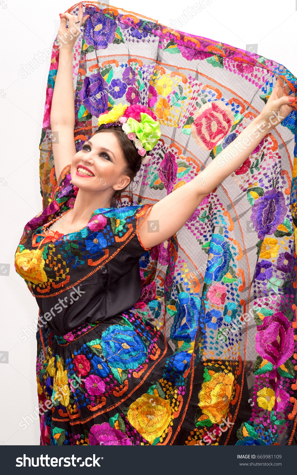 Beautiful Smiling Mexican Woman Traditional Mexican Stock -8035