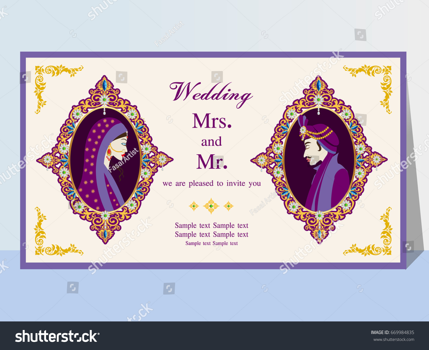 Indian Wedding Invitation Card Abstract Backgroundtemplate Stock Vector Royalty Free 669984835