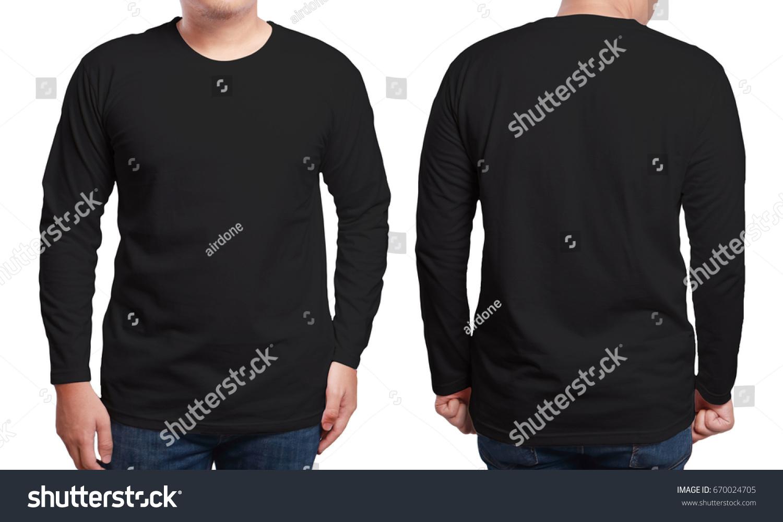 black long sleeved tshirt mock up の写真素材 今すぐ編集
