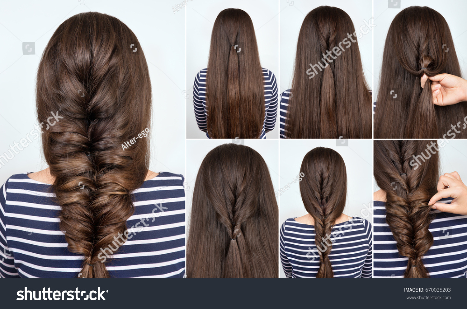 Hair tutorial hairstyle braid party backstage stock photo hair tutorial hairstyle braid for party backstage technique of weaving plait step by step pmusecretfo Image collections