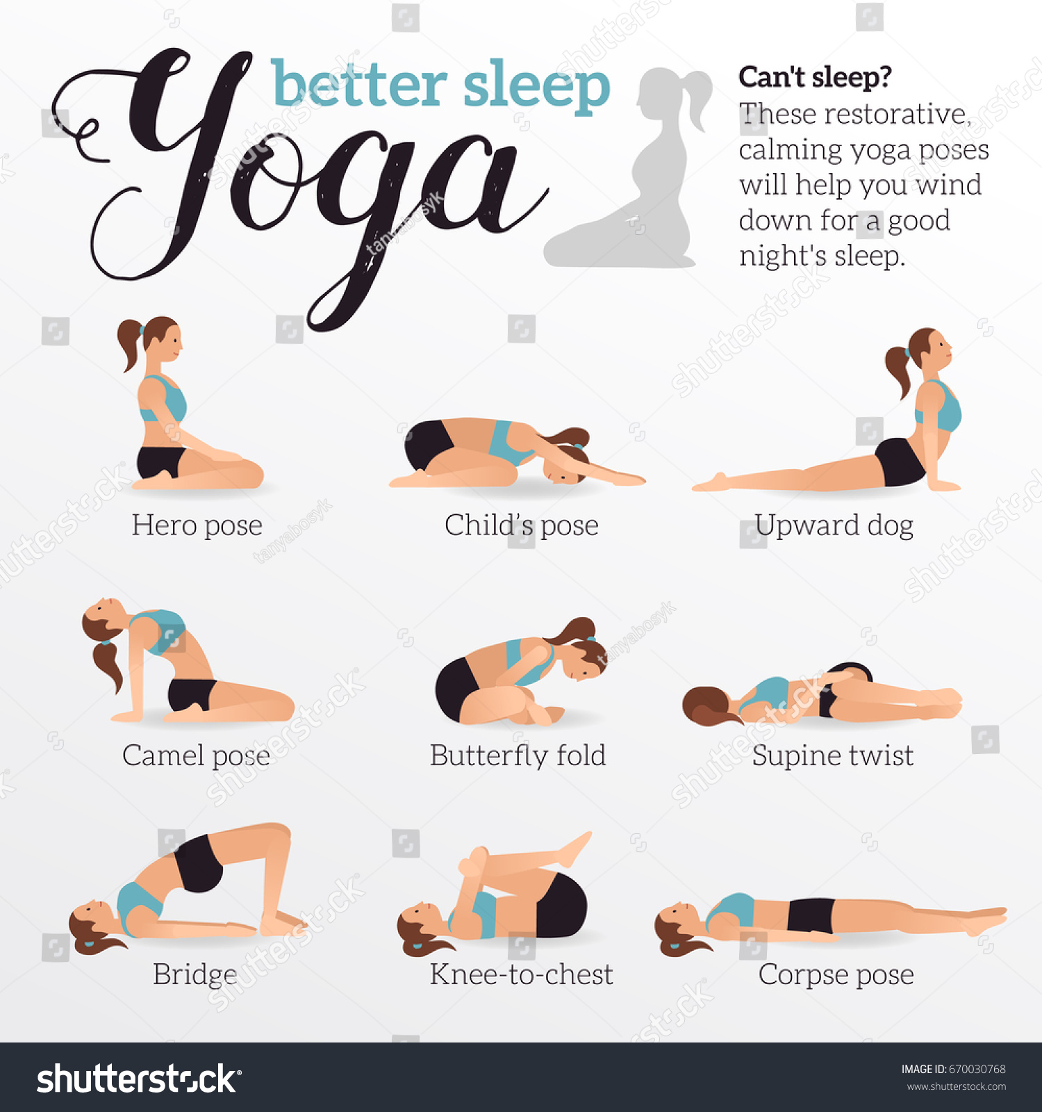 Yoga Poses For Better Sleep Vector Illustrations With Woman In Sport Bra And Shorts Doing