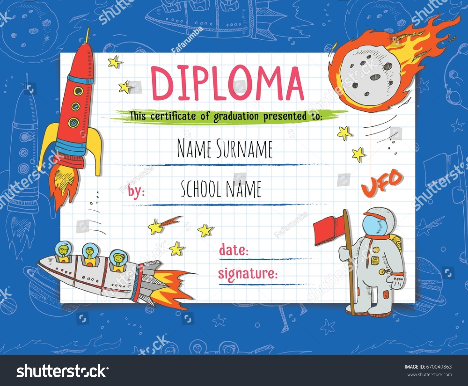Diploma template kids certificate background hand stock vector diploma template for kids certificate background with hand drawn colorful stars spaceship stars xflitez Images