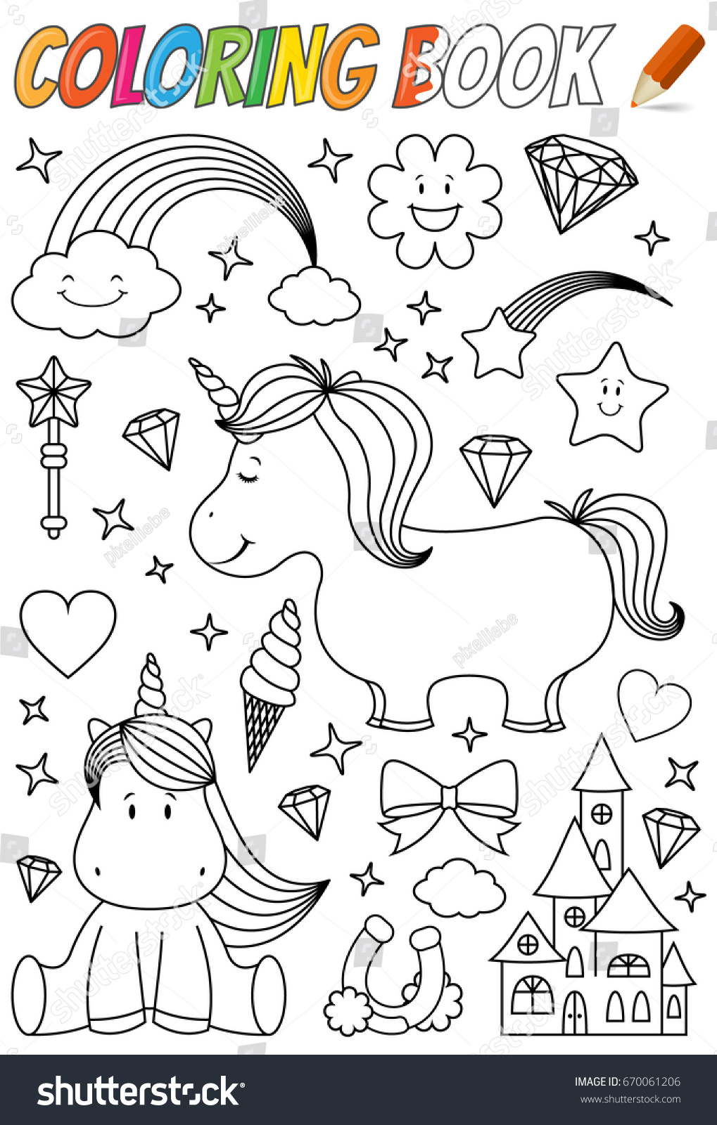 Unicorn Coloring Book Template Stock Photo (Photo, Vector ...