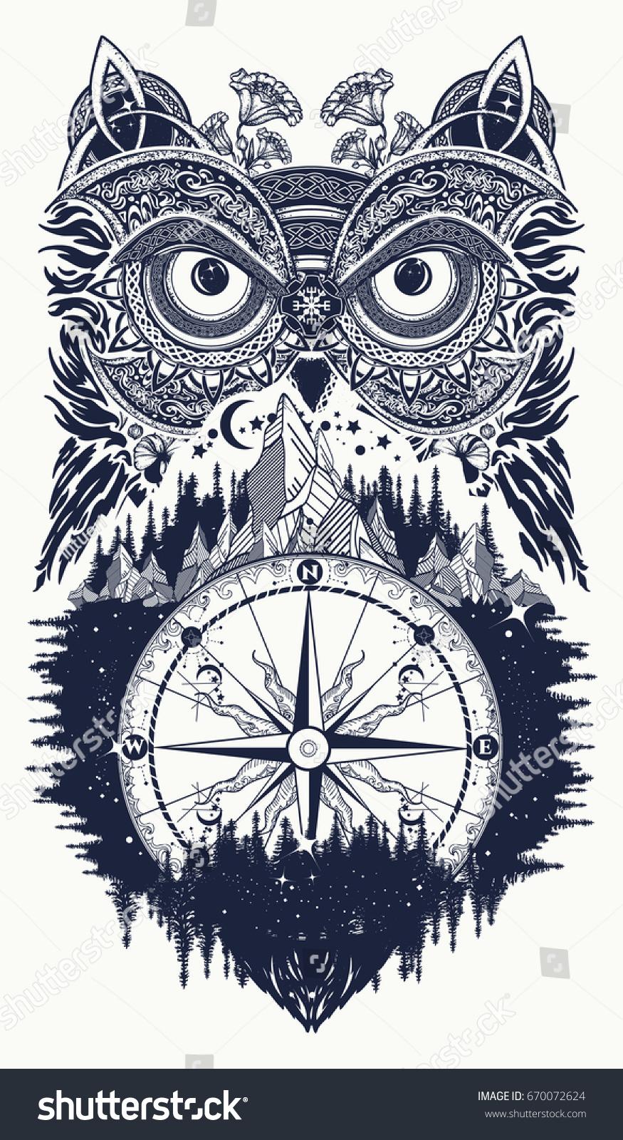 Owl Compass Tattoo Art Symbol Wisdom Stock Vector Royalty Free