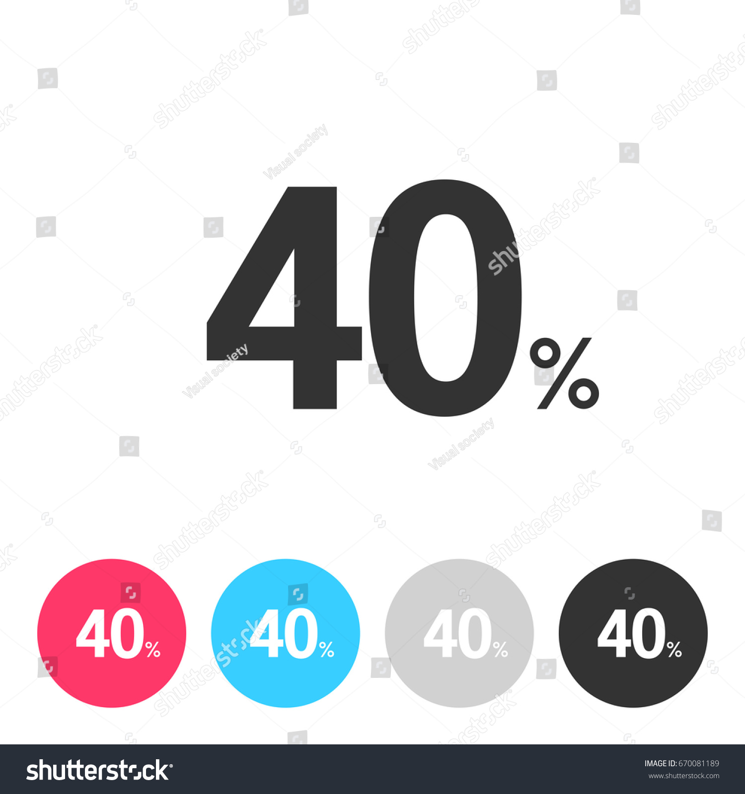 40 Forty Percent Isolated On White Stock Vector Royalty Free