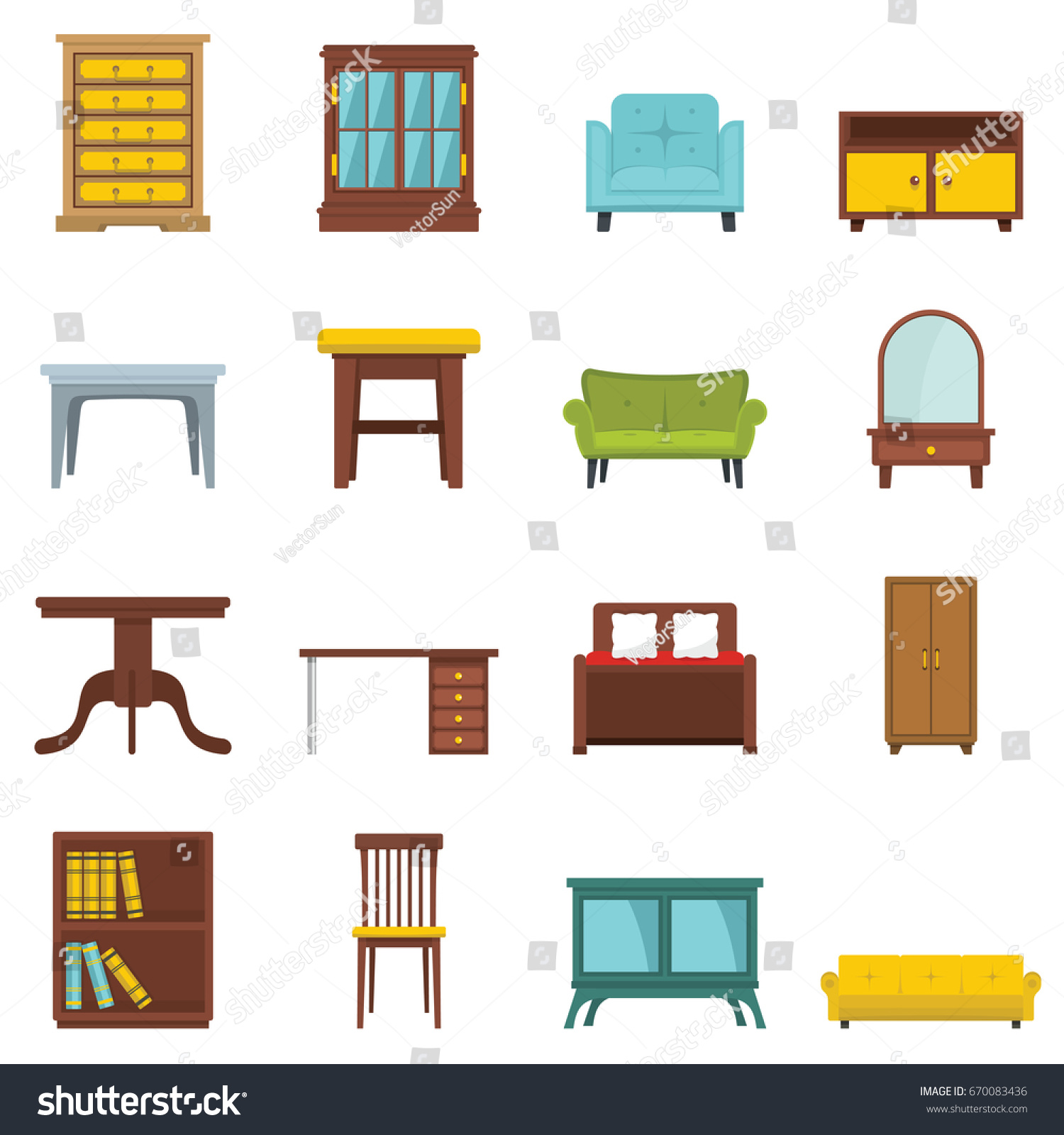 Set Flat Cartoon Office House Furniture Stock Illustration 670083436 ...