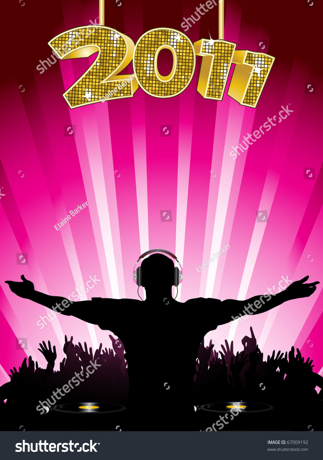 dj and crowd new year party background with 2011 sign