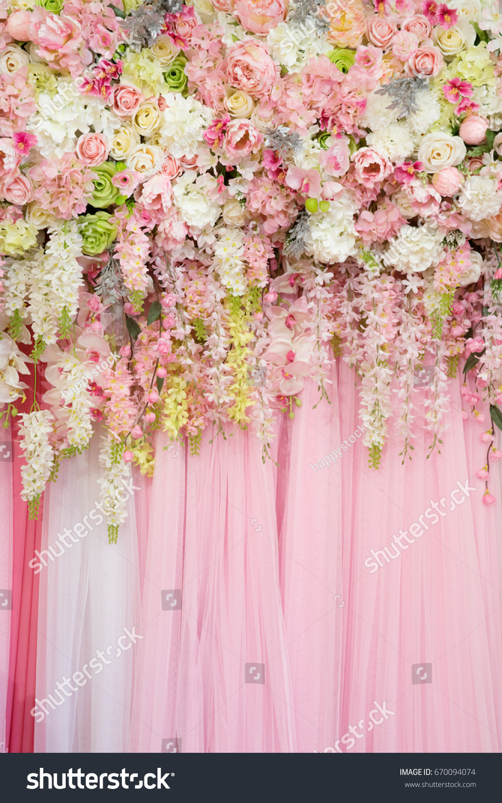 Mix Beautiful Flowers Background Wedding Ceremony Stock Photo Edit