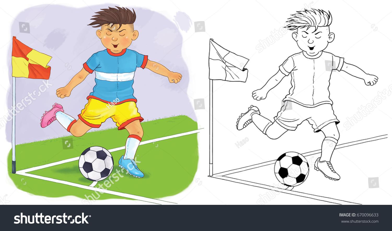Football Soccer Coloring Book Cute Footballer Stock Illustration ...