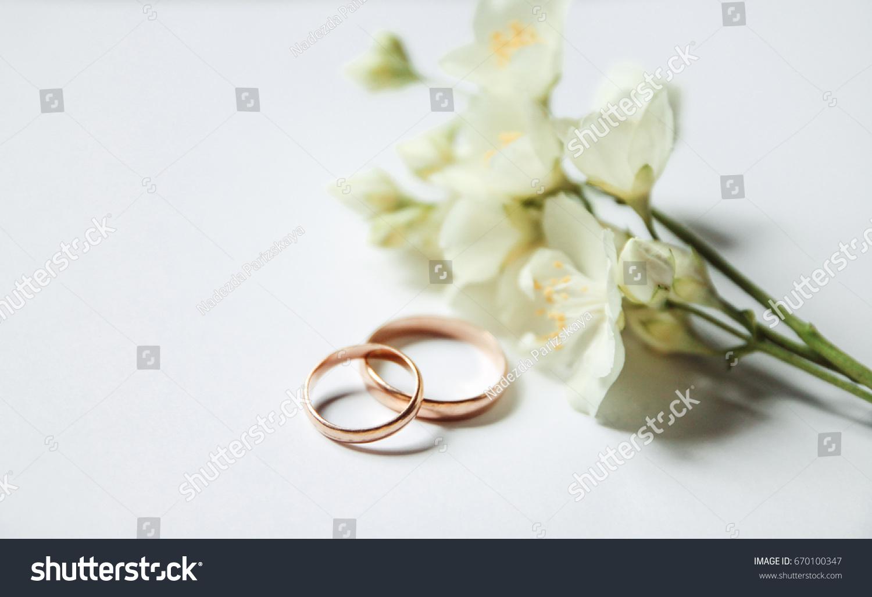 Gold Wedding Rings On Background Jasmine Stock Photo (Edit Now ...