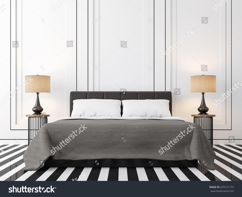 Modern Vintage Bedroom Black White D Stock Illustration - Modern vintage bedroom