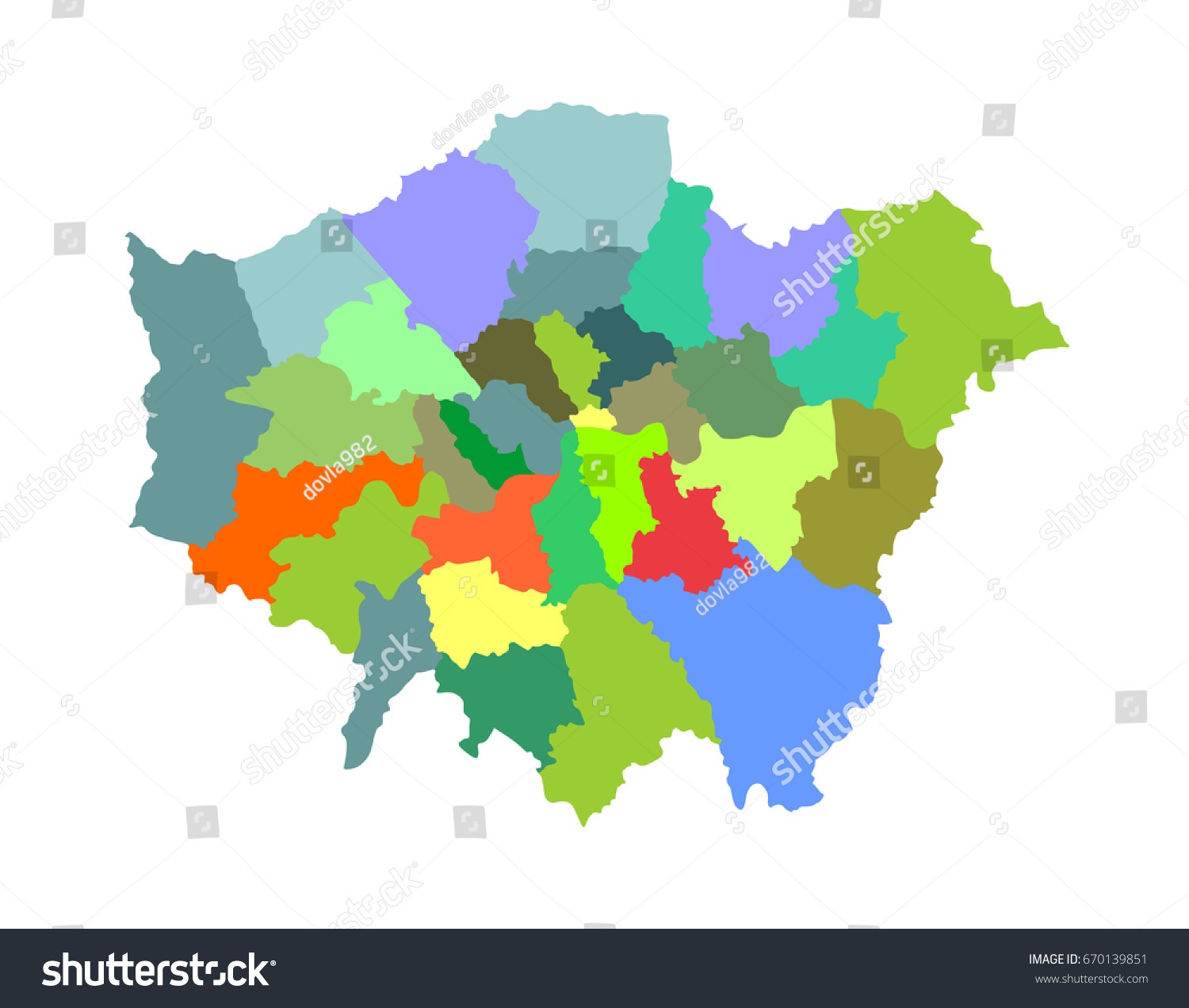 greater london vector silhouette map isolated on white background london map of main town in