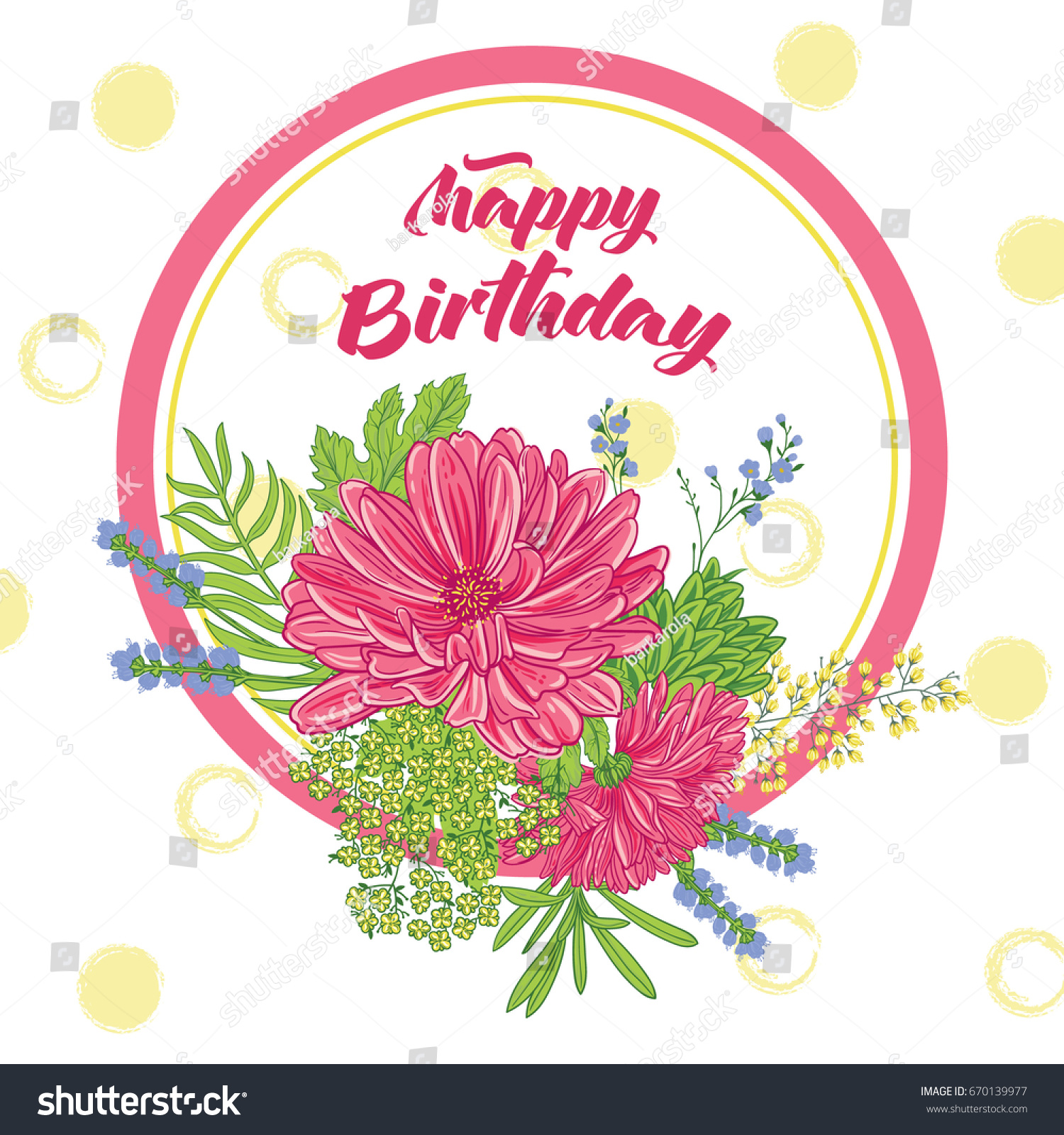 Happy birthday card aster flowers hand stock vector royalty free happy birthday card with an aster flowers and hand drawn brush background floral composition izmirmasajfo