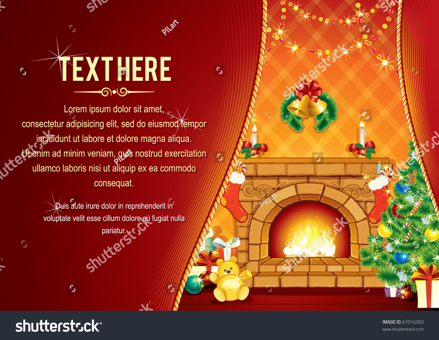 vector background decorated home room christmas stock vector