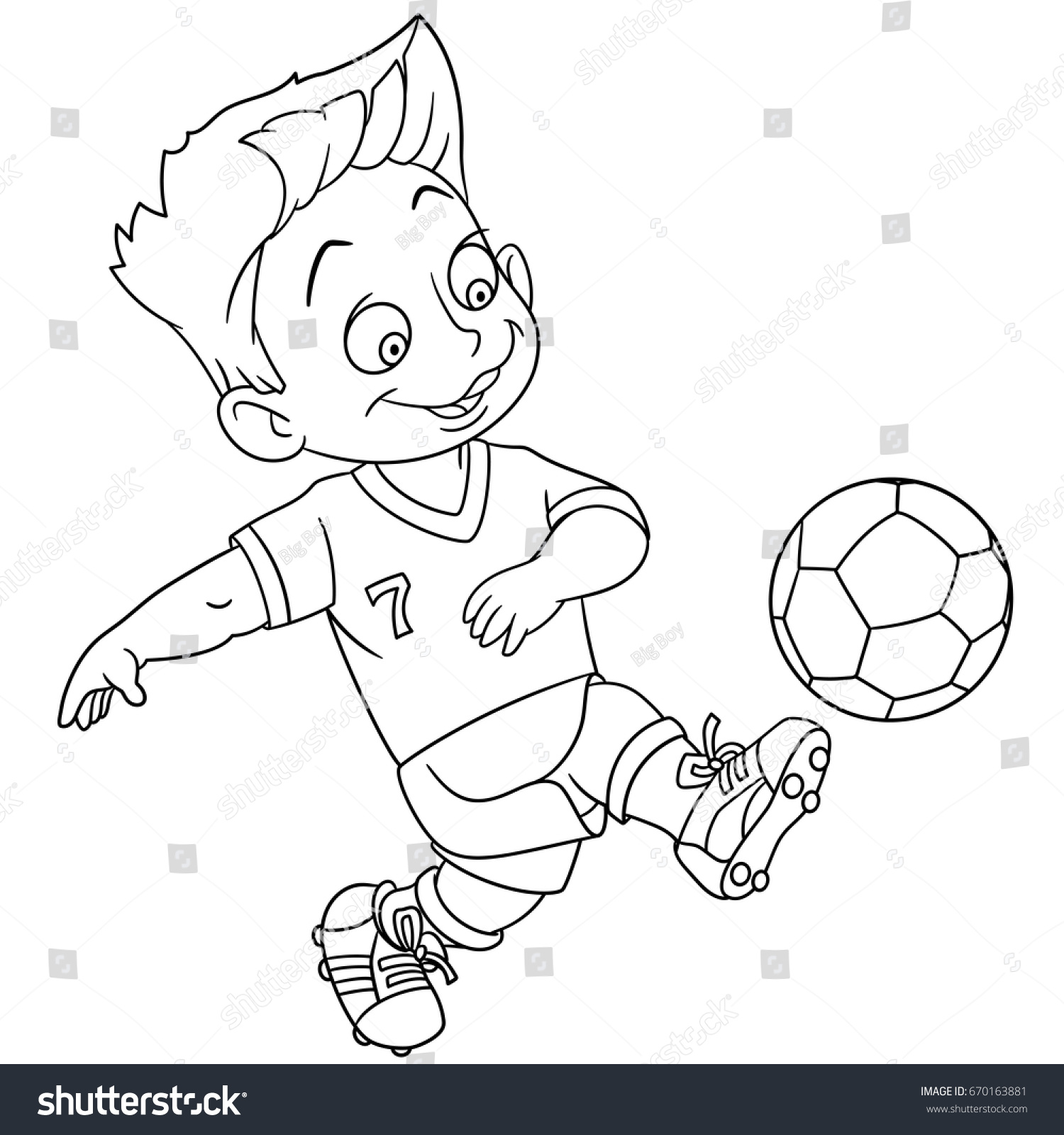 coloring page cartoon boy playing football stock vector (royalty