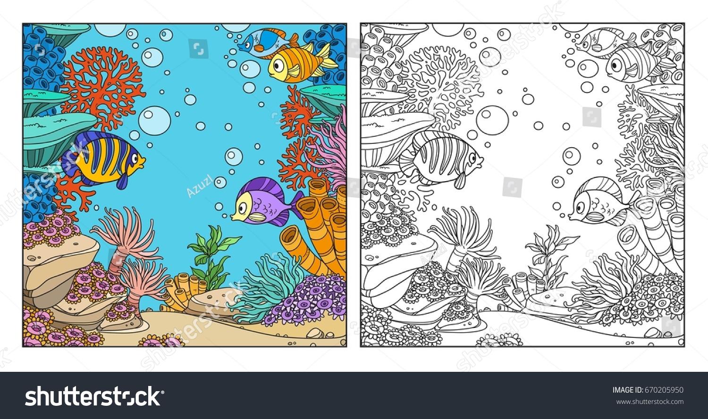 Underwater World Corals Fish Algae Anemones Stock Vector (Royalty ...