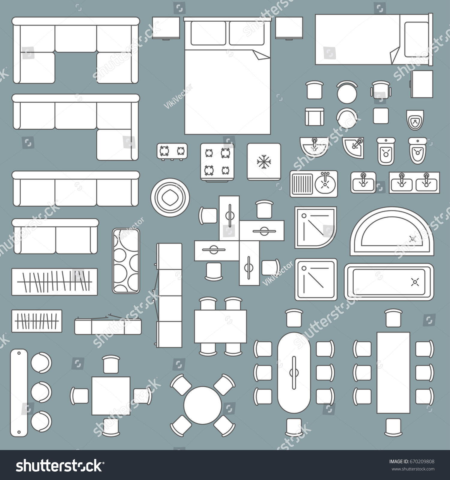 Furniture top view architecture plan home stock vector for House design top view