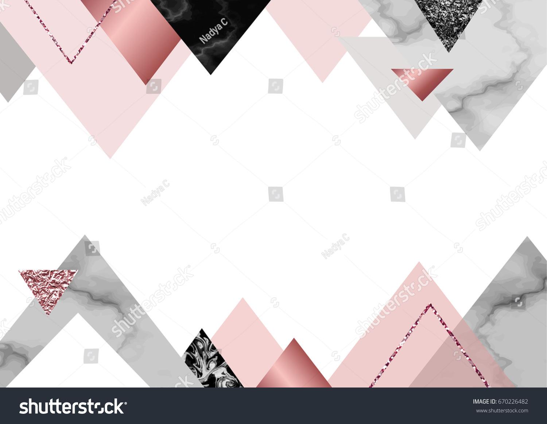 Marble Rose Background Trendy Minimalist Geometric Stock