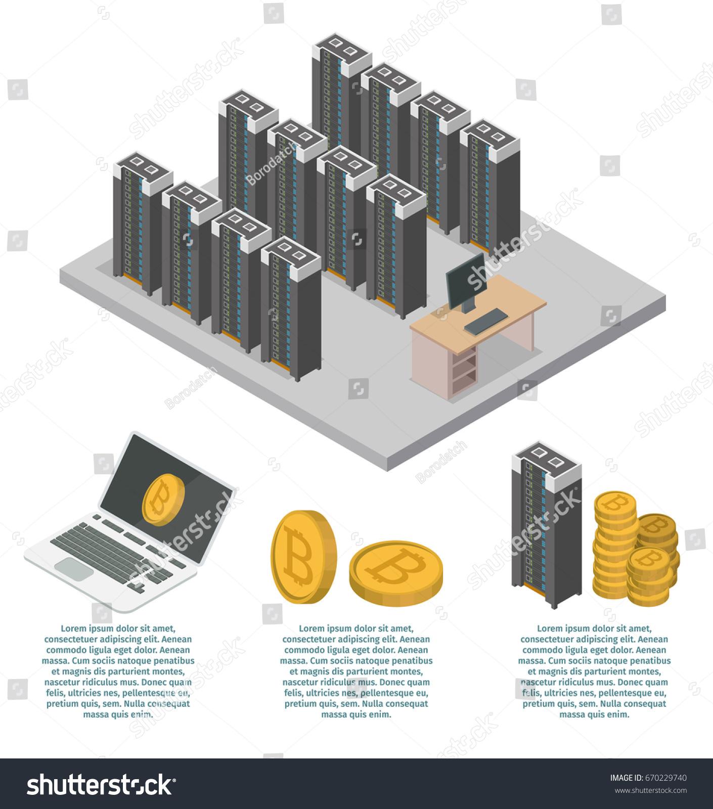 Bitcoin Mining Farm Isometric Concept 3d Infographic