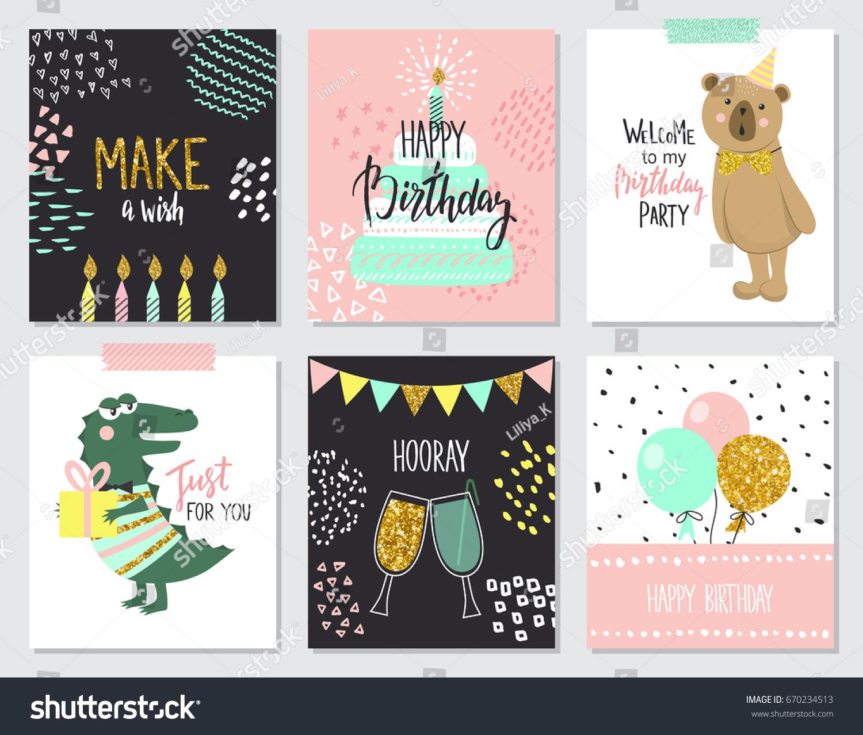 happy birthday greeting cards party invitation のベクター画像素材