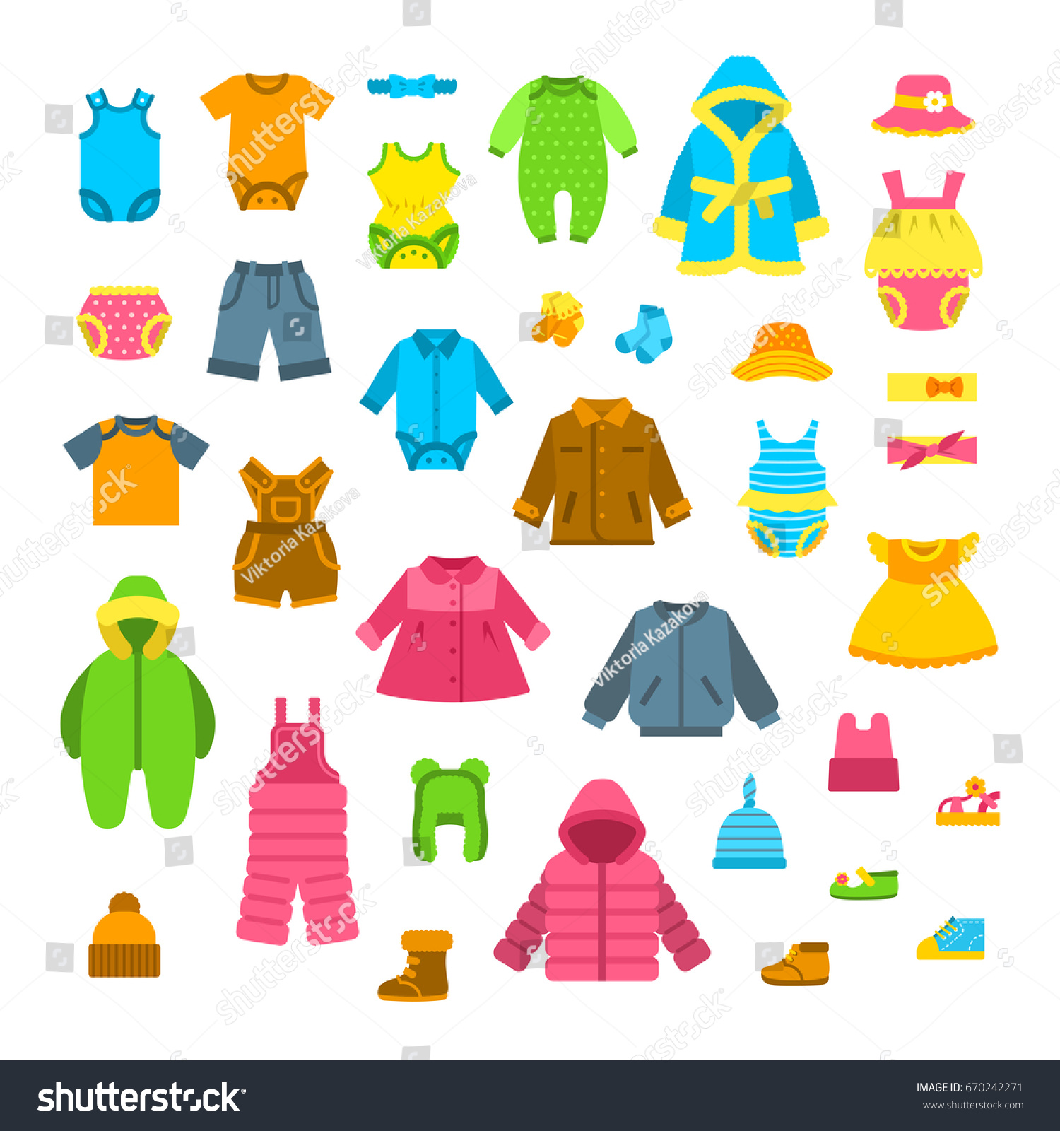 Baby Clothes Vector Illustrations Set Newborn Stock Vector ...
