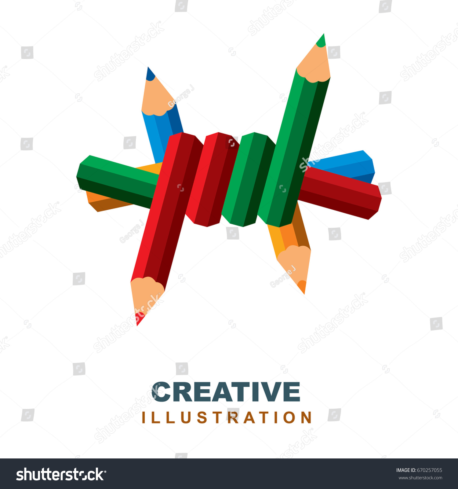 Barbed Wire Pencils Creative Concept Logo Stock Vector 670257055 ...