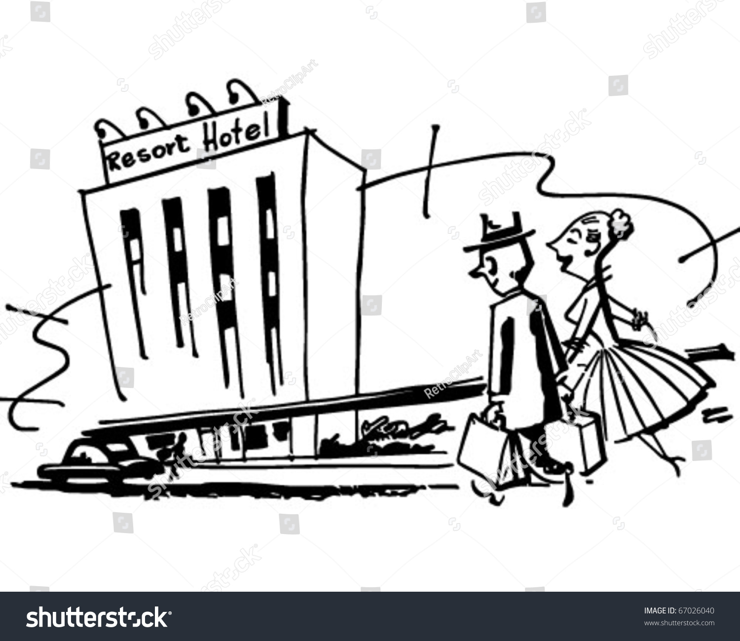 Couple Arriving Hotel Retro Clipart Illustration Stock Vector ...
