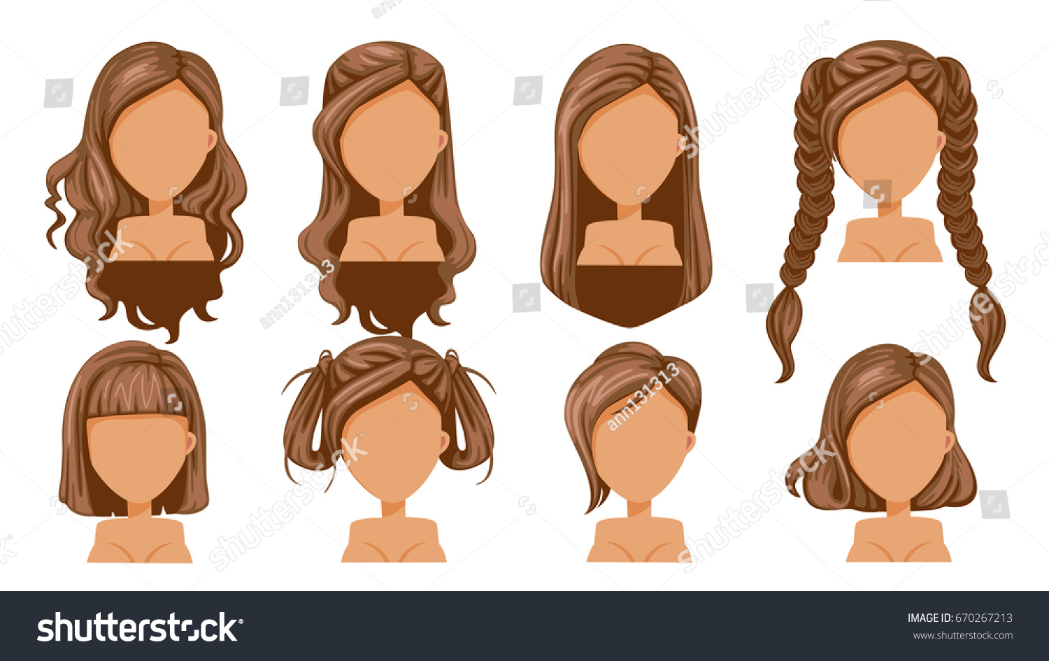 Hairstyle Vector: Beautiful Hairstyle Woman Modern Fashion Assortment Stock