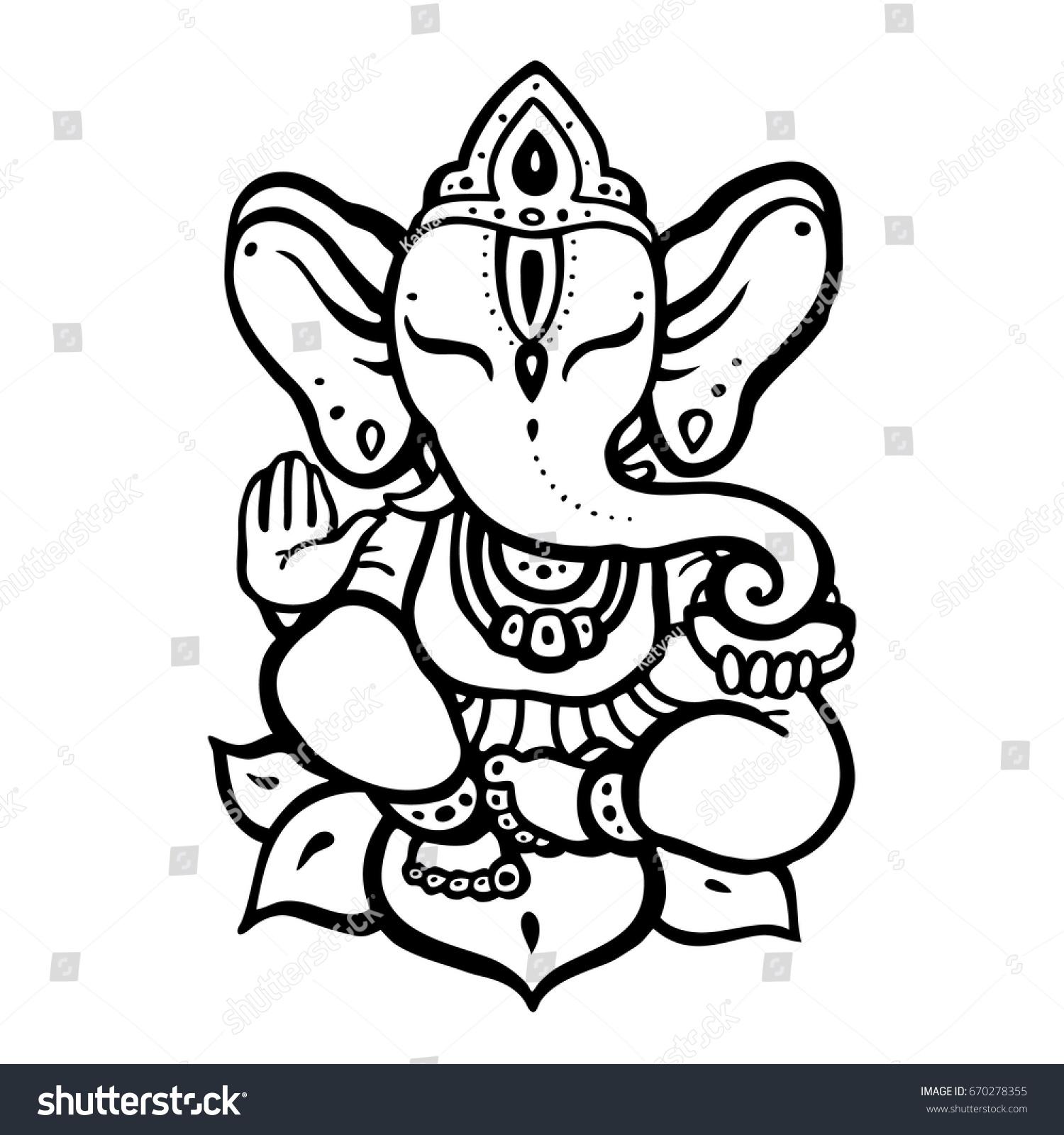 Hindu Elephant Lord Ganesha Vector Hand Stock Vector Royalty Free