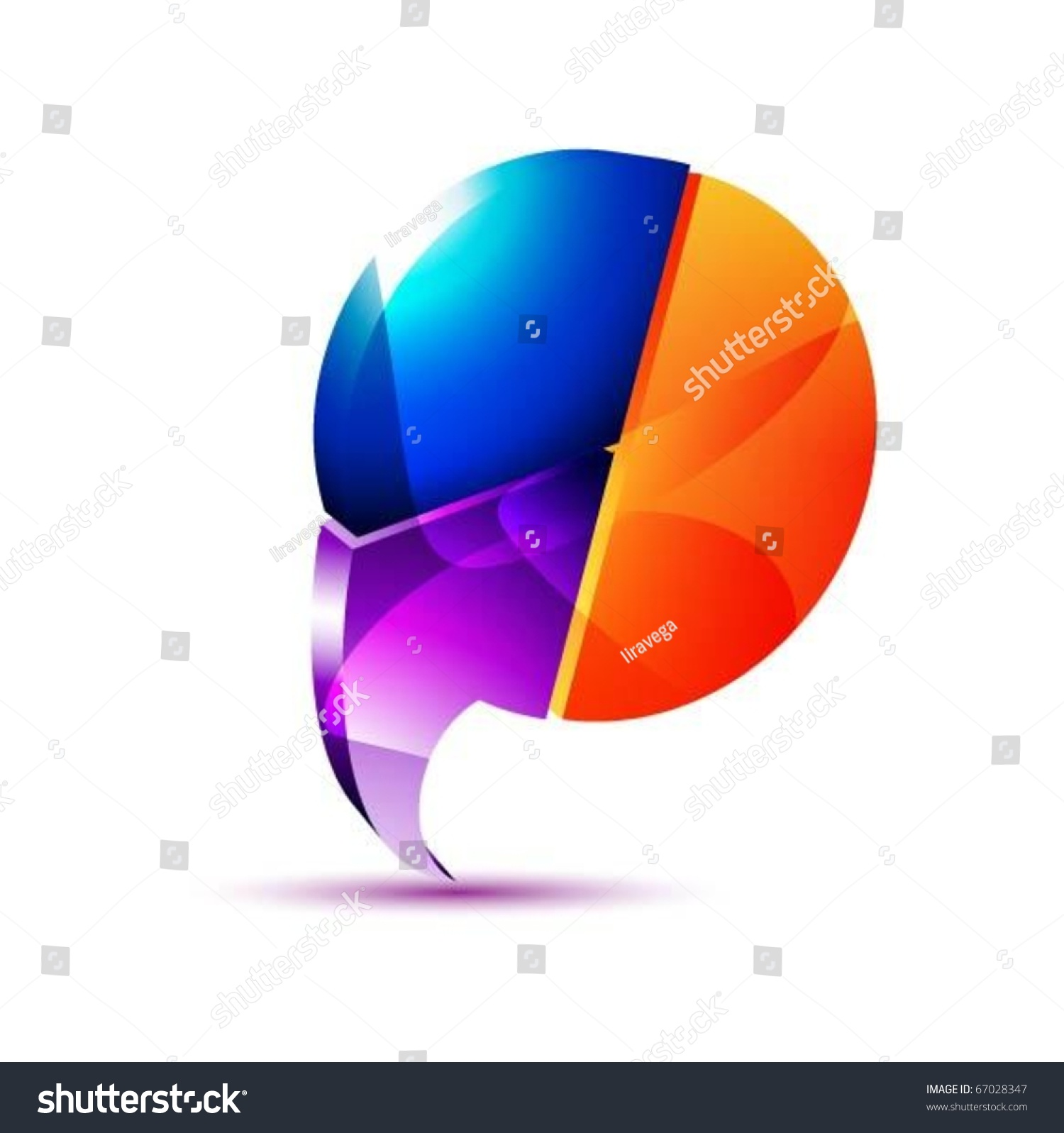 3 D Speech Bubble Pie Chart Vector Stock Vector Royalty Free