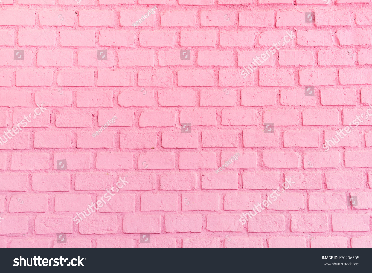 Pastel pink brick background wall texture.pink red brickwall with light paint backdrop wallpaper for woman concept #670296505