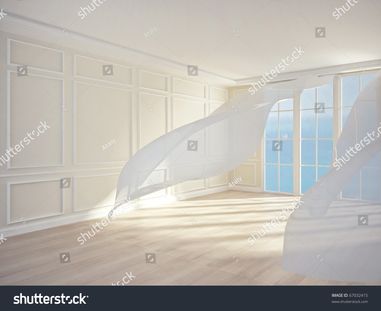 an interior of a room with white flowing curtains. 3d render stock