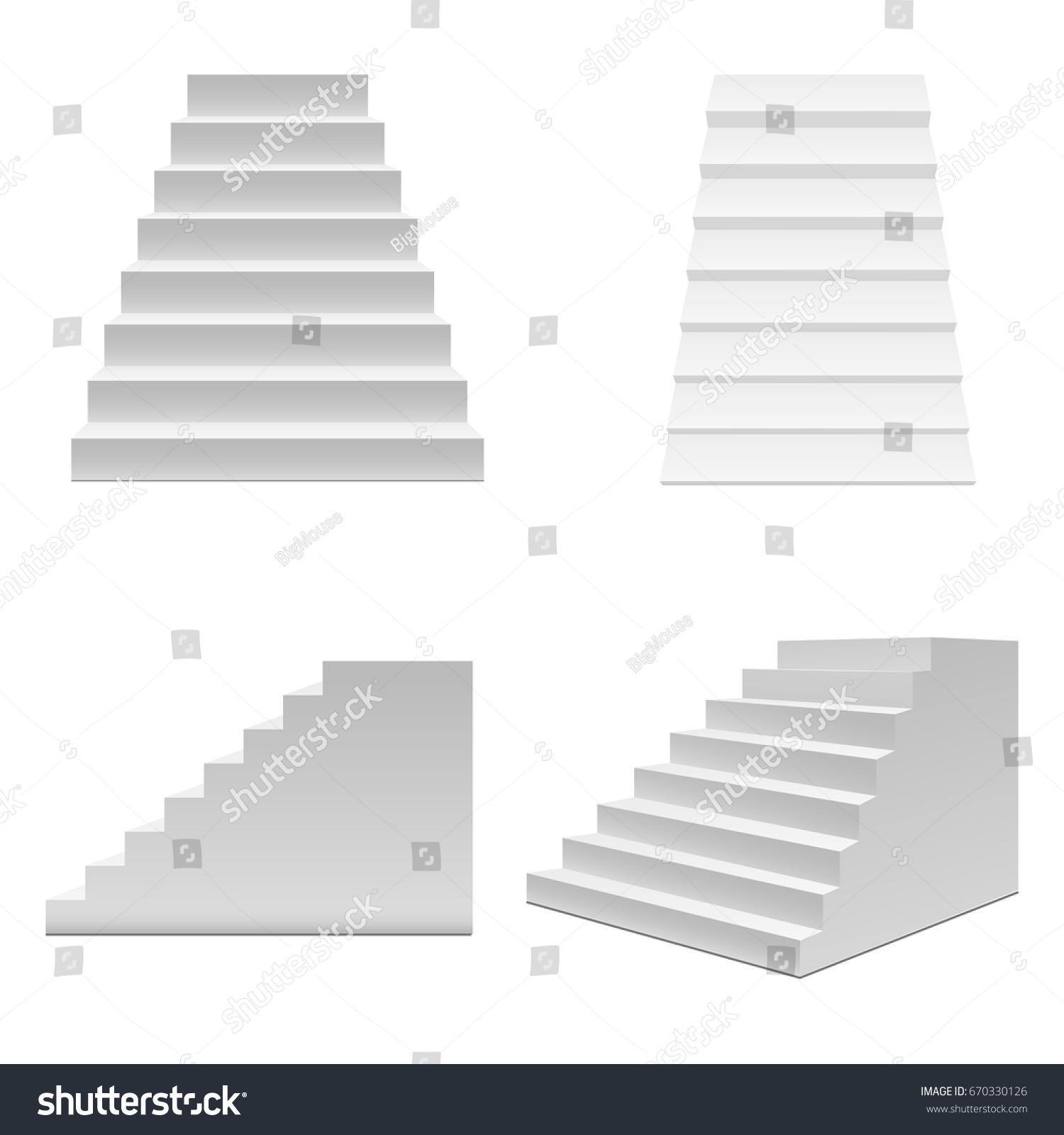 Image vectorielle de stock de Modèle réaliste Escalier blanc ...