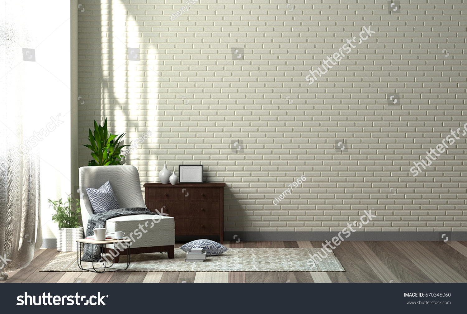 Interior Of Living Room Designer Chair With Plant In Front Of Clean Walls  3D Rendering,