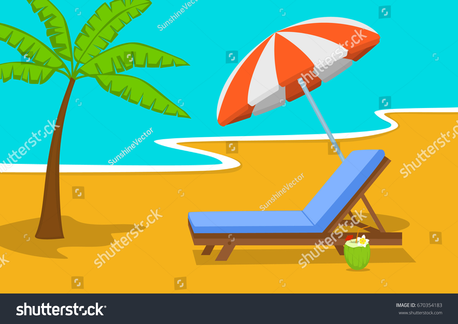 Summer Beach Time Vacation Background With Umbrella Sun Lounge Chair And Palm Tree At Seaside