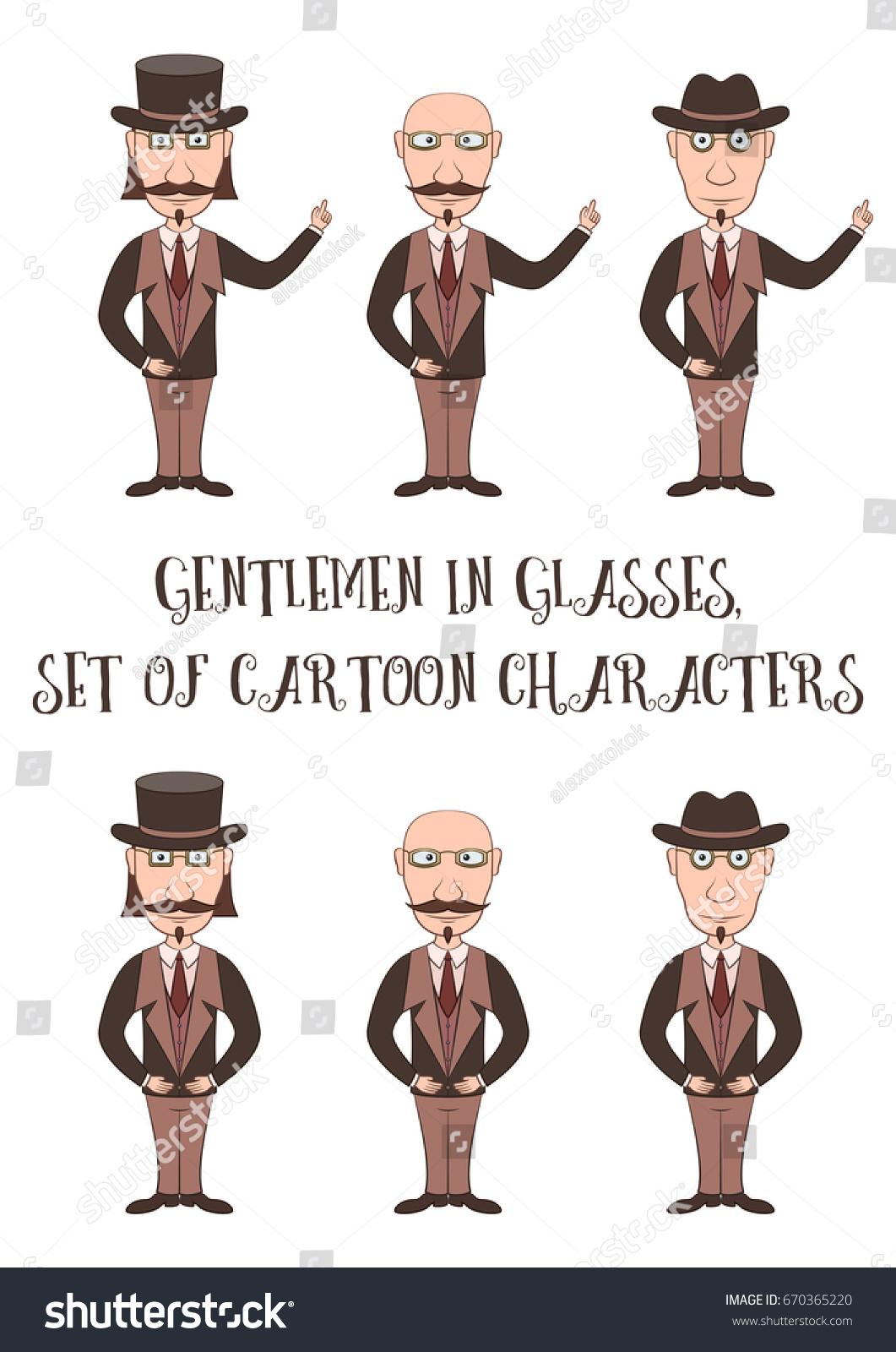 Strict Slender Gentleman Glasses Hat Business Stock Vector