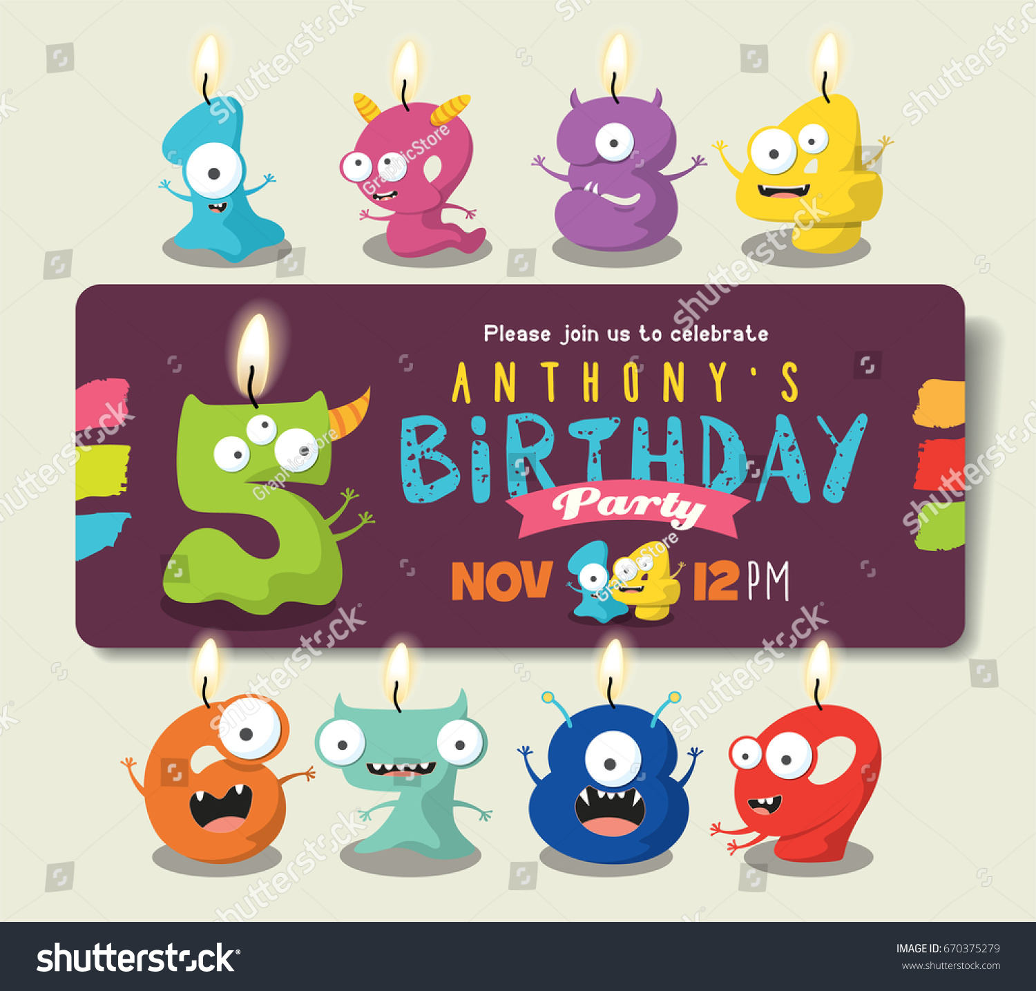 Birthday Anniversary Numbers Candle Funny Monster Stock Vector ...