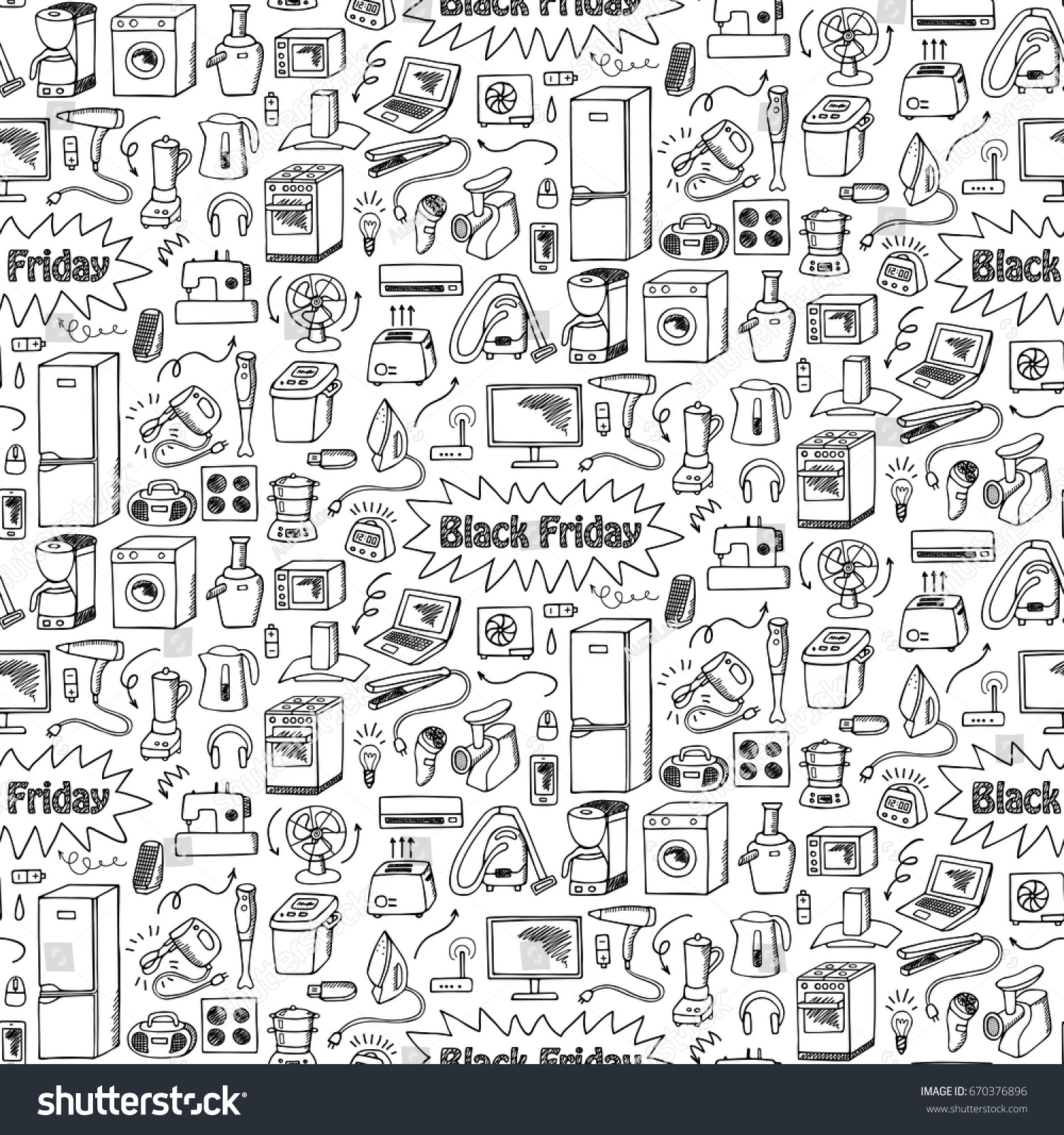 Black Friday household appliances hand drawn seamless pattern. Wallpaper of sketch equipment with doodle elements. Coloring page.