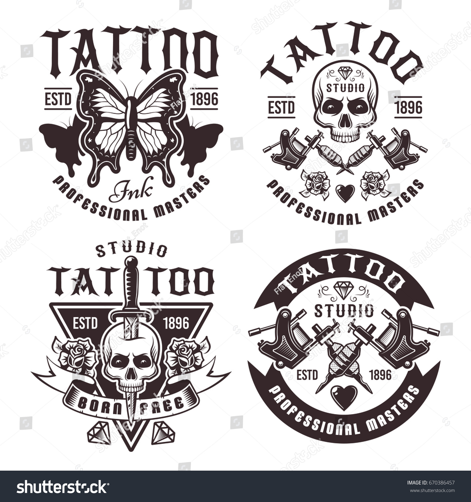 tattoo studio set four vector vintage stock vector