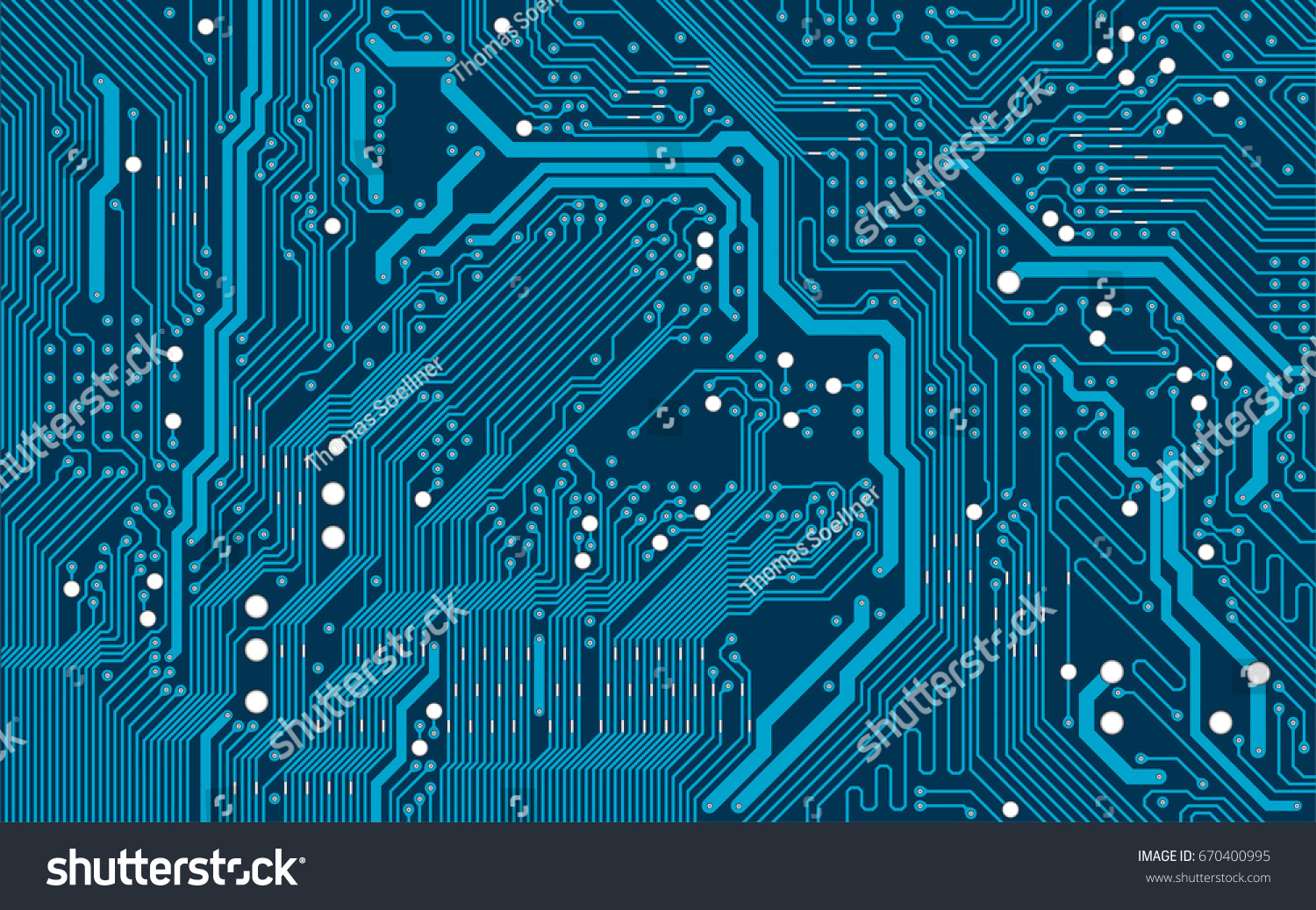 Vector Blue Electronic Circuit Board Background Ez Canvas Abstract With Old Computer