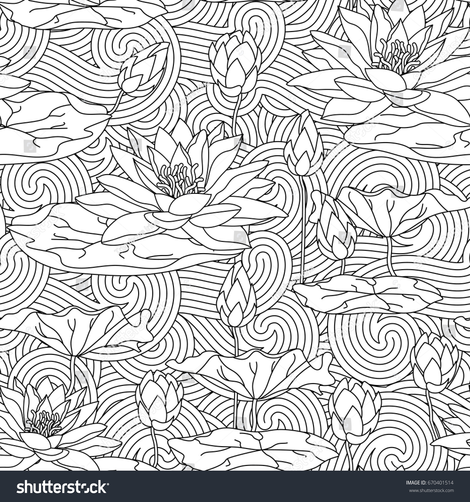 Lotus designs coloring book - Adult Antistress Coloring Page With Water Lily Seamless Pattern Cards With Lotus Leaves