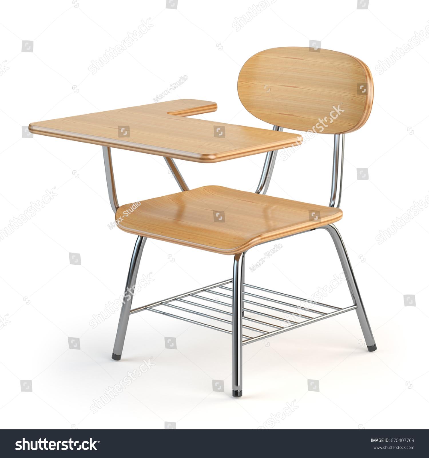 Wooden School Desk Chair Isolated Stock Illustration