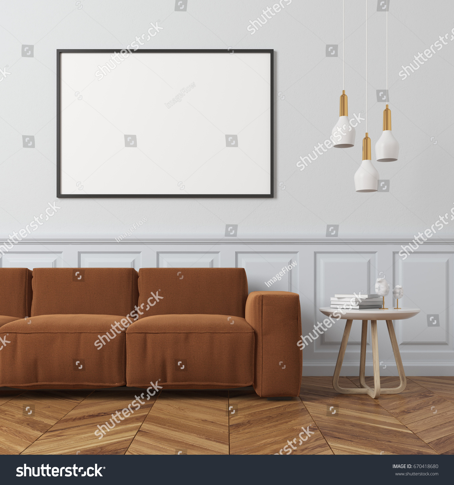 Living Room Interior White Wall Wooden Stock Illustration 670418680 ...
