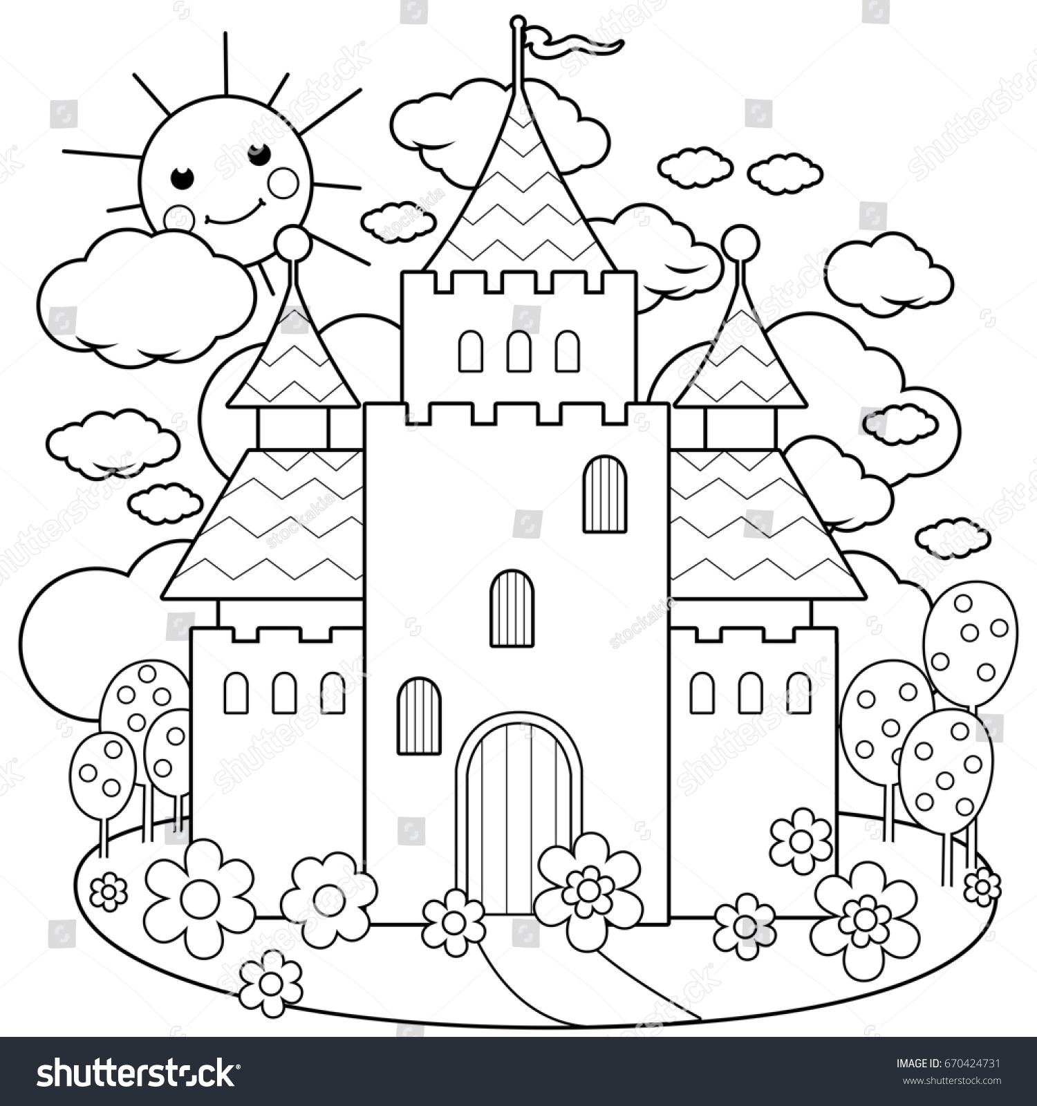 Beautiful Fairy Tale Castle Black White Stock Illustration 670424731 ...