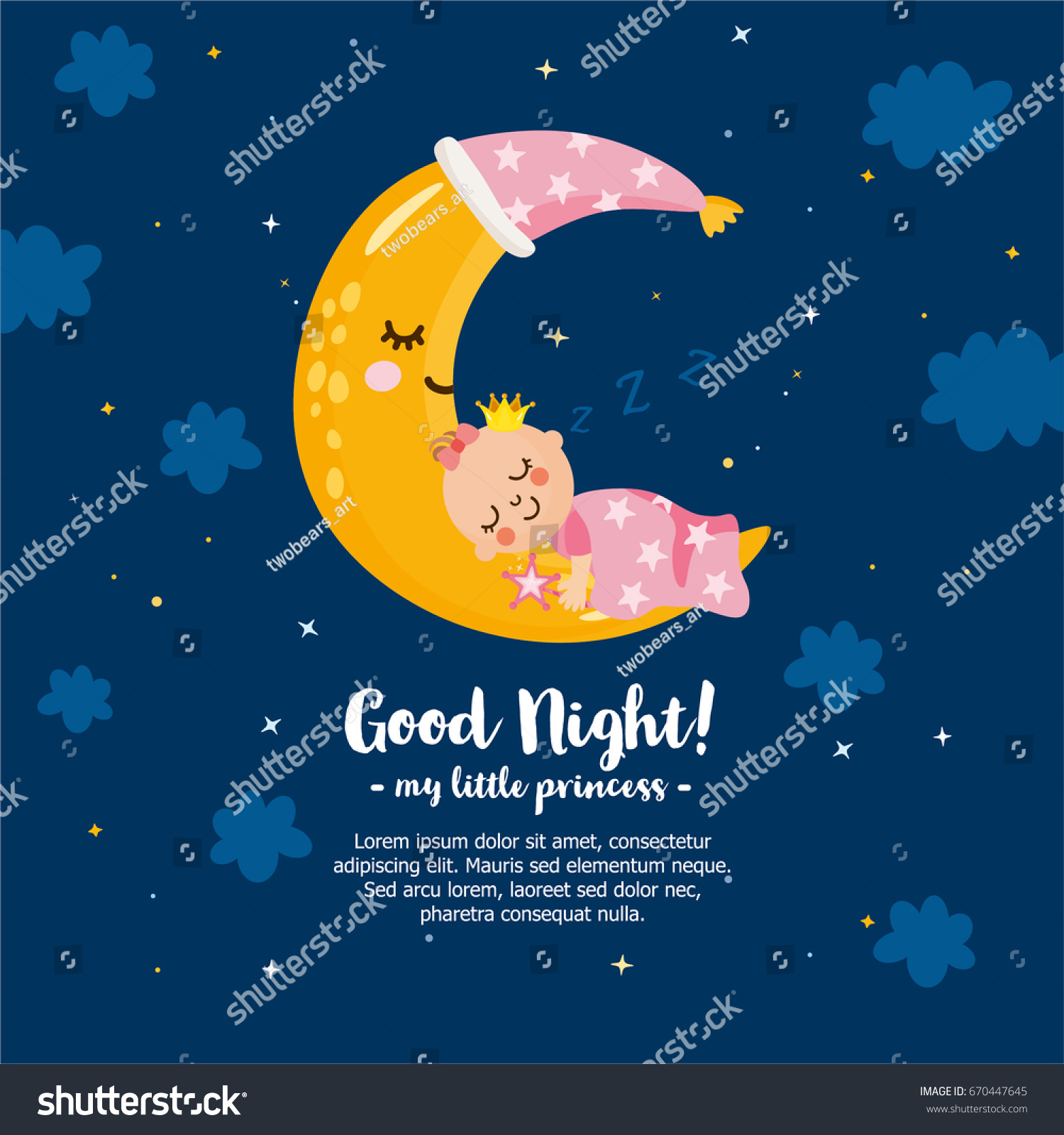 Good Night My Little Princess Magic Stock Vector Royalty Free