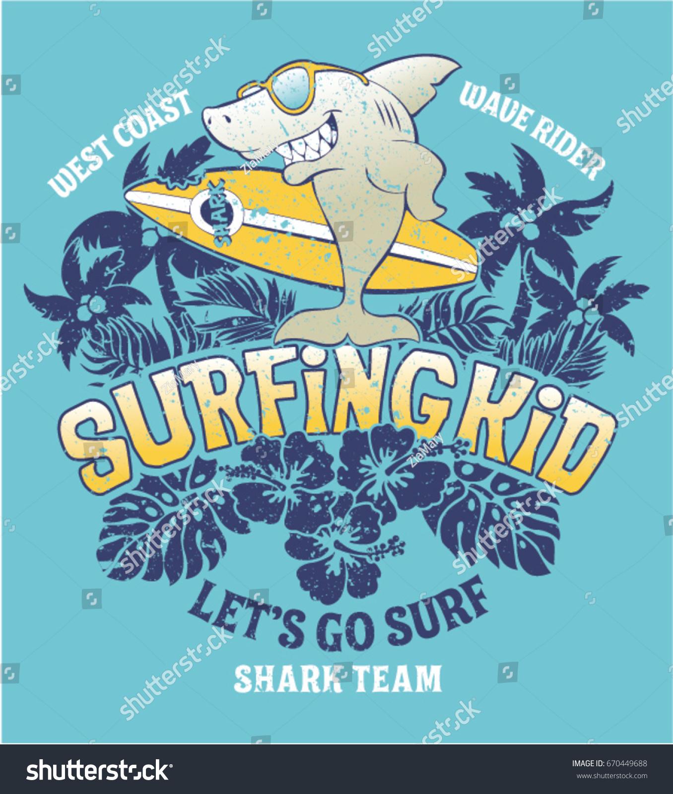 shark surfing kid team vector print stock vector 670449688